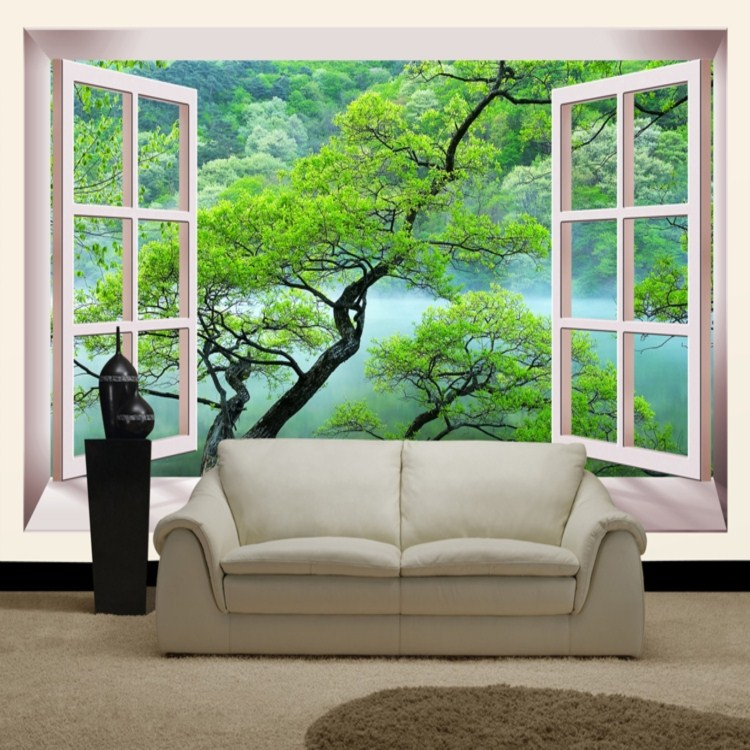 False window green trees home decor 3d large mural wallpaper bedroom modern wall covering ofhead TV sofa wall paper waterproof murals wall paper modern art top beach deep blue sea water ripples swim dolphins home decor ceiling large wall mural wallpaper