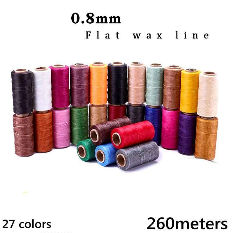 0.8 milímetros de cera rodada linha 260 metros de Linha de Mão de Artesanato de Couro De Costura Fio de Poliéster Encerado Rodada 27 cores