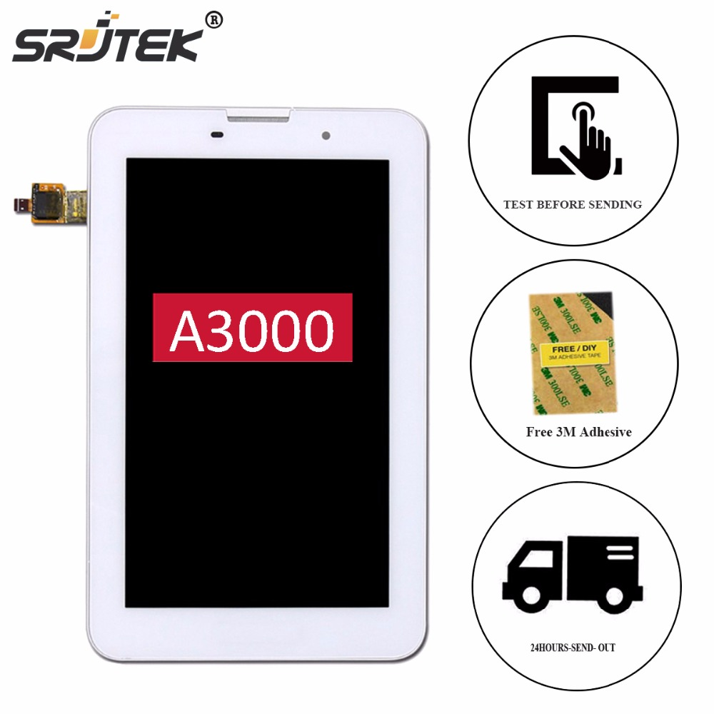 Srjtek 7 For Lenovo A3000 A3000-H LCD Display Touch Screen Digitizer Glass Panel Sensor Assembly with Frame with Free Adhesive vibe x2 lcd display touch screen panel with frame digitizer accessories for lenovo vibe x2 smartphone white free shipping track