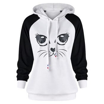 Women Hoodie Cat White Black Casual Long Sleeve Cat Ears Print