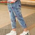 2016 New Autumn Spring Girls Pants Children Girls Clothing Fashion Girls Casual Cherry Jeans Pants Kids Girls Denim Pants
