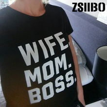4a777cf51 WIFE MOM BOSS Letters Print Women tshirt Cotton Casual Funny t shirt For  Lady Girl Top