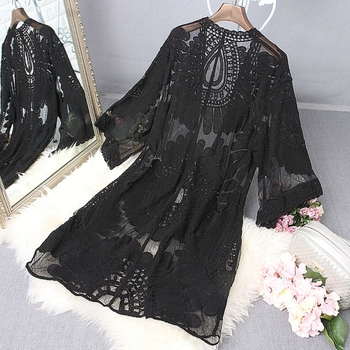 1Pc Women Beach Cover Up Floral Embroidery Swimwear Robe Cardigan BathingSuit