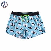 Women Summer Shorts Casual Drawstring Waistband Panda print Beach Style Swim Pool with Pocket Loose Female Shorts boys tiger print vest with ornate print drawstring shorts