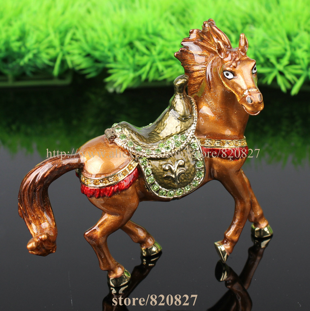 Enameled and Jeweled Prancing Horse Metal Trinket Box Hollywood Regency Horse luxury jeweled Metal Collectible- organizer box