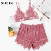 SHEIN Elegant Two Piece Set Women Pink Applique Detail Lace Bralette And Velvet Shorts Set Women