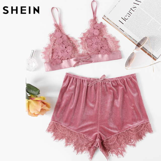 c23682b94 SHEIN Elegant Two Piece Set Women Pink Applique Detail Lace Bralette and  Velvet Shorts Set Women Sexy Sleepwear
