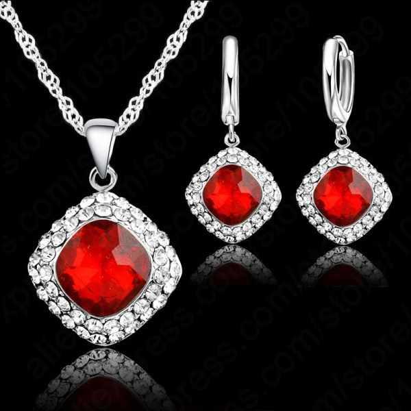 Hohe Qualität 925 Sterling Silber Schmuck Set Kurze Kette Charme Quadrat Anhänger Halskette Ohrring Kristall für Frauen