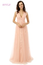 A-line V-neck Floor Length Tulle Long Peach Prom Dress