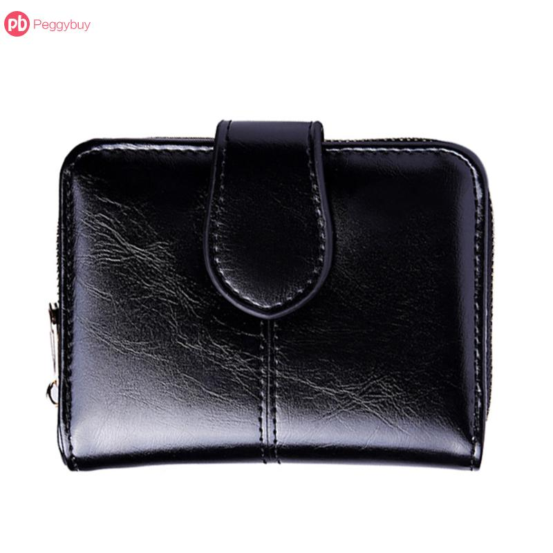 Female Short Wallet PU Leather Oil Wax Bifold Coin Purse Card ID Holder Photo Pocket Small Wallet Red New Flap Money Purse men casual wallet pocket coin id cards money holder clutch bifold slim purse