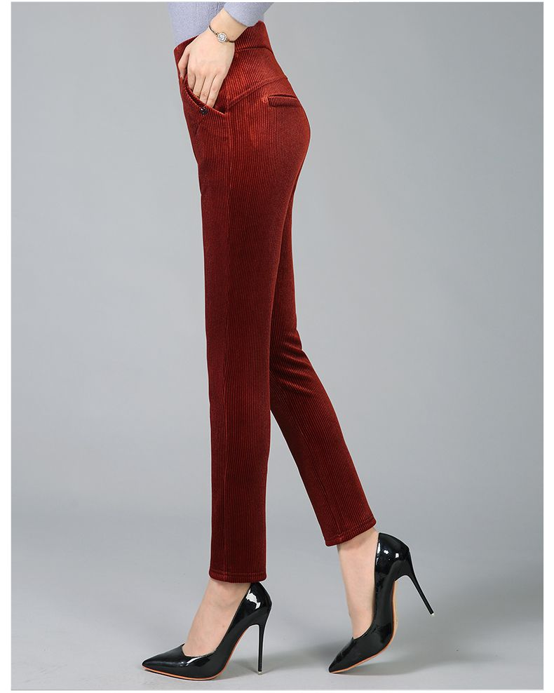 Women Elegant Striped Velvet Pants Slim Fit Corduroy Trousers Woman Red Green Black Blue Pant Bottoming Trouser Lady (14)