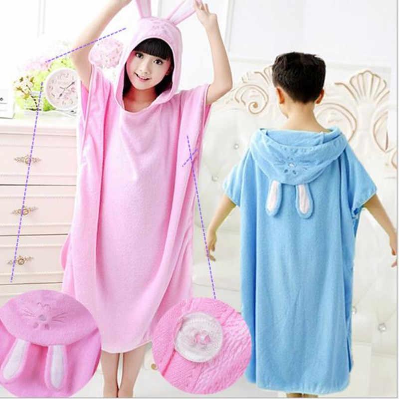 ... Child Bathrobe Hooded Cartoon Pullover Beach Towel Robe Kids Swimming  Roupao Pink Blue Green Yellow Shawl ... 1fe9876f0