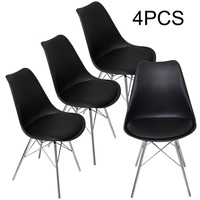 Nordic Style 4pcs Backrest Dining Stool Chair Classic Ergonomic Comfortable Leg Side Design Dining Chair Decorative Furniture