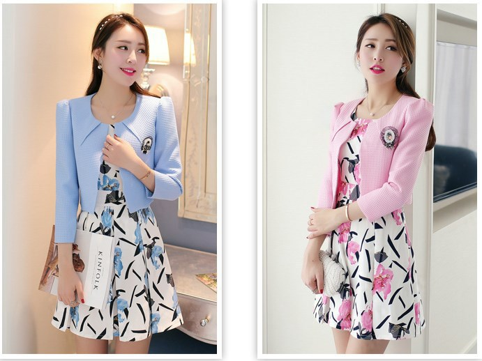 Free Shipping2015new Korean Slim Fit Long Sleeve Printed Dress Suits