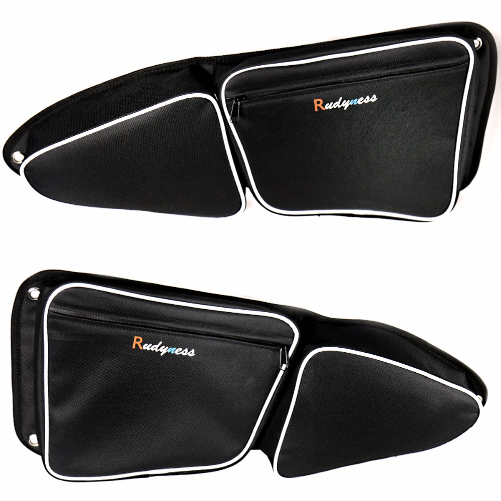 Left&Right Black Door Bag With Knee Pad For UTV Polaris RZR XP 1000 900 S 2015 2016 2017 Models