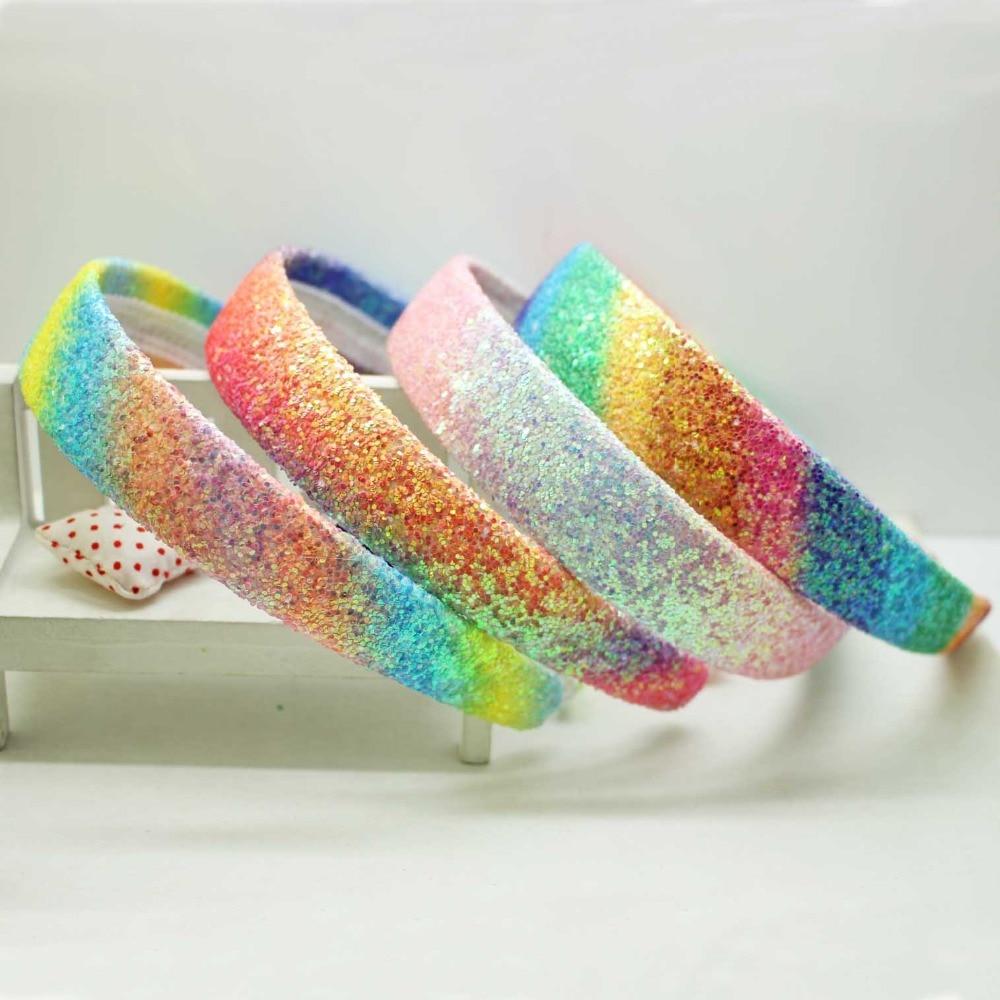 Hot Sale Fashion PU Shining Gradient Hairband Kids Beautiful Glitter Rainbow Hair Accessories Headband For Women Girls Wholesale