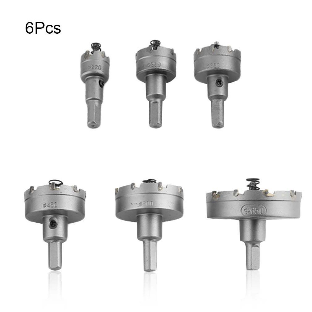 6Pcs 22-65mm Carbide Tip TCT Core Drill Bit Hole Saw for Metal Alloy Stainless Steel Cutter Drilling Free Shipping
