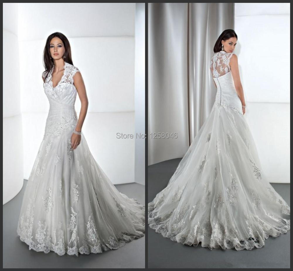 Best selling v neck sheer wedding dress capped illusion for Wedding dress with illusion top
