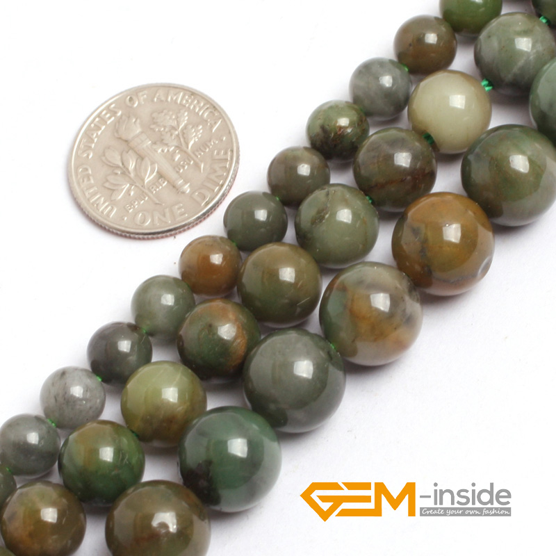 "6mm 8mm 10mm Green African Jades (Jadeite) Beads Natural Jad Stone Beads DIY Beads For Making Bead Strand 15 ""Χονδρικό"