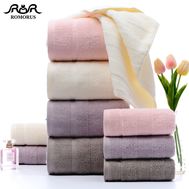 ROMORUS Super Absorbent Towel Set 100% Premium Cotton Large Bath Towel and Small Face Hand Towel for Adults Soft Towels Bathroom