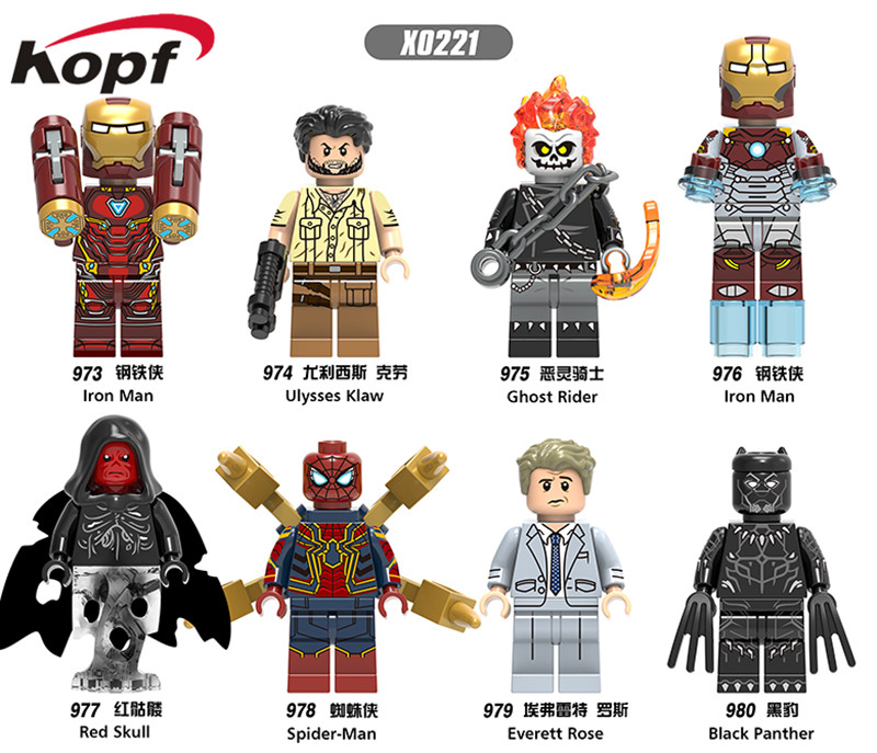 Single Sale Super Heroes Ulysses Klaw Ghost Rider Iron Man Red Skull Building Blocks Action Figures Toys Gifts Children X0221
