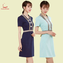 New summer short sleeve beautician work clothes dress beauty salon female manager high-end Korean temperament professional