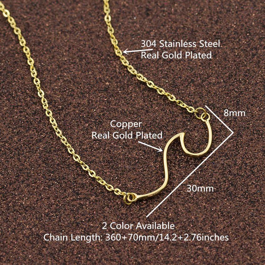 Sederhana Menangkap Gelombang Laut Kalung Pantai Surfer Perhiasan Stainless Steel Rantai Nautical Liontin Kalung untuk Wanita Pria