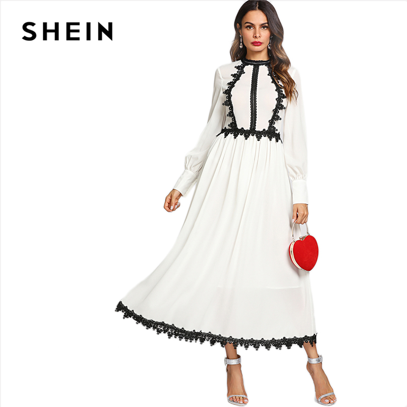 413452961e SHEIN White Elegant Stand Collar Long Sleeve Colorblock Contrast Lace Two  Tone Flare Weekend Casual Summer Maxi Dress For Women-in Dresses from  Women's ...