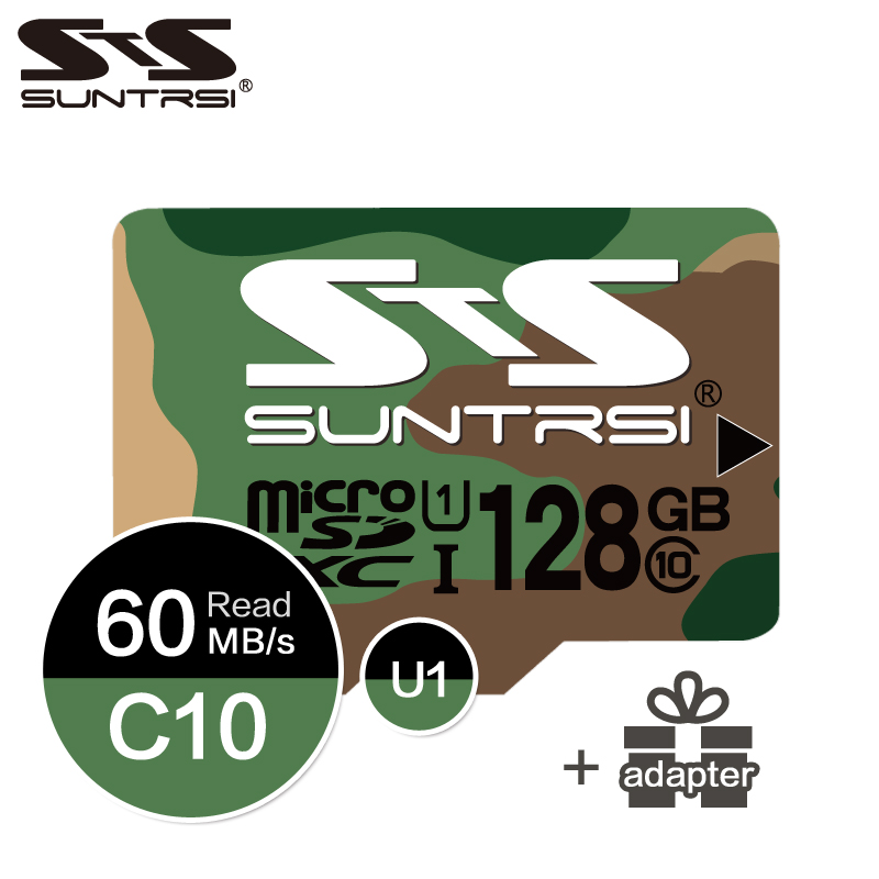 Suntrsi Green Camouflage Micro SD Card 128GB/64GB/32GB/16GB Class 10 High Speed For Phone Microsd 8GB Class 6 Free Shipping
