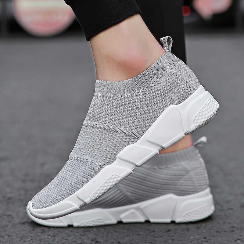 bc9476074 ... Гном 2018 новые Мокасины носок туфли дышащие кроссовки обувь Для мужчин  прогулок Мужская обувь стрейч слипоны
