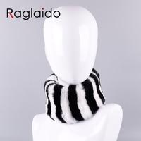 Raglaido Women Scarves handbands Real Fur Neck Warmer Winter Rabbit Warm Soft Brand Fur Scarf elastic ring Collars LQ07019