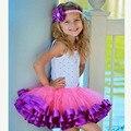 Новое прибытие девочка ленты юбки шифон повседневный пушистый бальное платье pettiskirt мода малыша девушка мини юбка танца туту