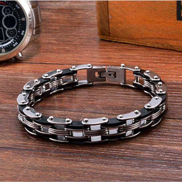 Mechanical Motocycle Chain Bracelet Men In Black Titanium Stainless