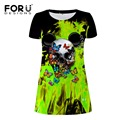 FORUDESIGNS Dress Women Clothing Ukraine Summer Casual Short Dresses Cool Punk Skull Pencil Dress Slim Vestido de festa Aline