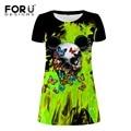 Ucrânia forudesigns dress roupas femininas verão vestidos curtos casual fresco do crânio do punk lápis dress aline vestido de festa fino