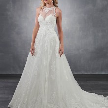 HIRE LNYER O-neck A-line Wedding Dress Plus Size Open Back