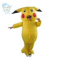 Pikachu Costume Cosplay Pokemon Inflatable Pikachu Onesie Kids Fancy Mascot Dress For Boys Girls