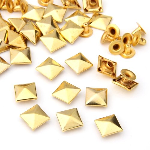 50 Set Gold Square Pyramid Spike Rivet Studs Spots Rock Punk 10mm shoes accessories gold goowiiz grid gold samsung galaxy j2 prime