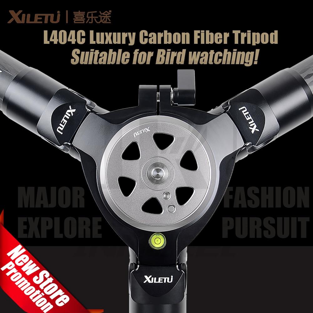 Xiletu L404C 40mm Tubo Profissional Fotografia Observação de Aves Estável Tripé De Fibra De Carbono Para Câmera de Vídeo Digital Camcorder