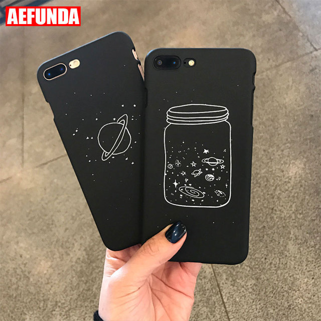 premium selection a5f75 86201 US $1.34 15% OFF|Cool Space Starry Sky Wish Bottle Phone Case For iPhone 7  8 6 S 6S Plus X 10 Black Color Shell Matte Frosted Hard PC Back Cover-in ...
