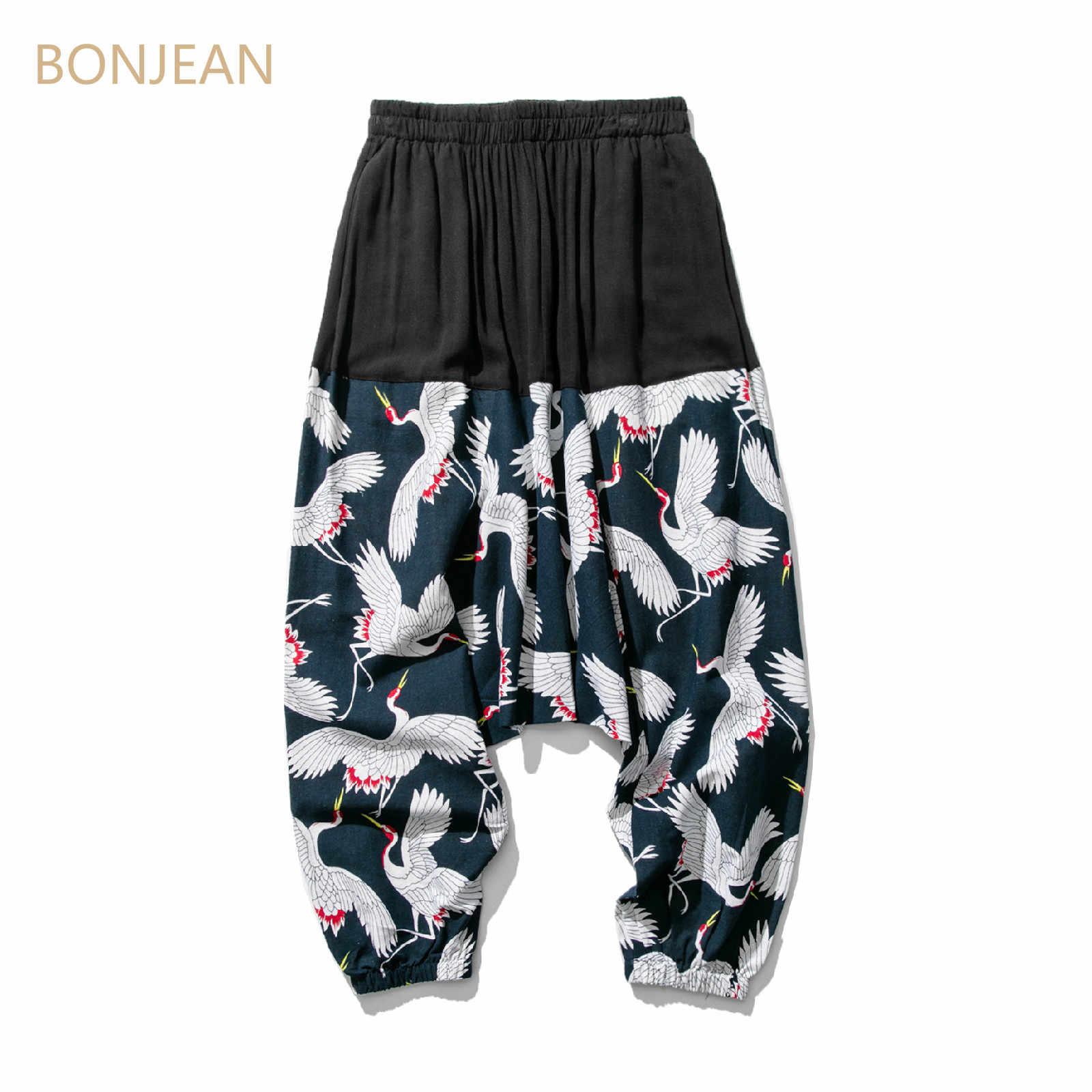 Bonjean Crane мужские широкие шаровары с низкой слонкой брюки свободные большие укороченные брюки широкие шаровары в китайском стиле мешковатые 5XL