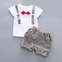 купить Boy Clothes Two-piece Short-sleeved T-shirt Pants Cotton Bow Tie Accessories Gentleman Baby1-3 Y Child Quality Clothing Hot Sale дешево