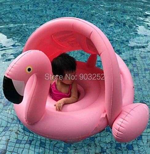 Розовый фламинго и Белый лебедь детский бассейн поплавок с регулируемым навесом младенческой надувной Лебедь плавательный кольцо