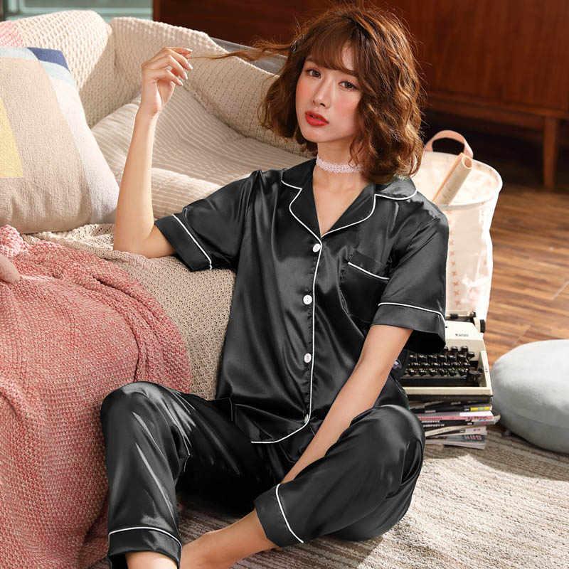 קיץ פיג 'מה סטי נשים משי סאטן פיג' מה קצר שרוול פיג נשים שתי חתיכות הלבשת אופנה גדול גודל פיג 'מה