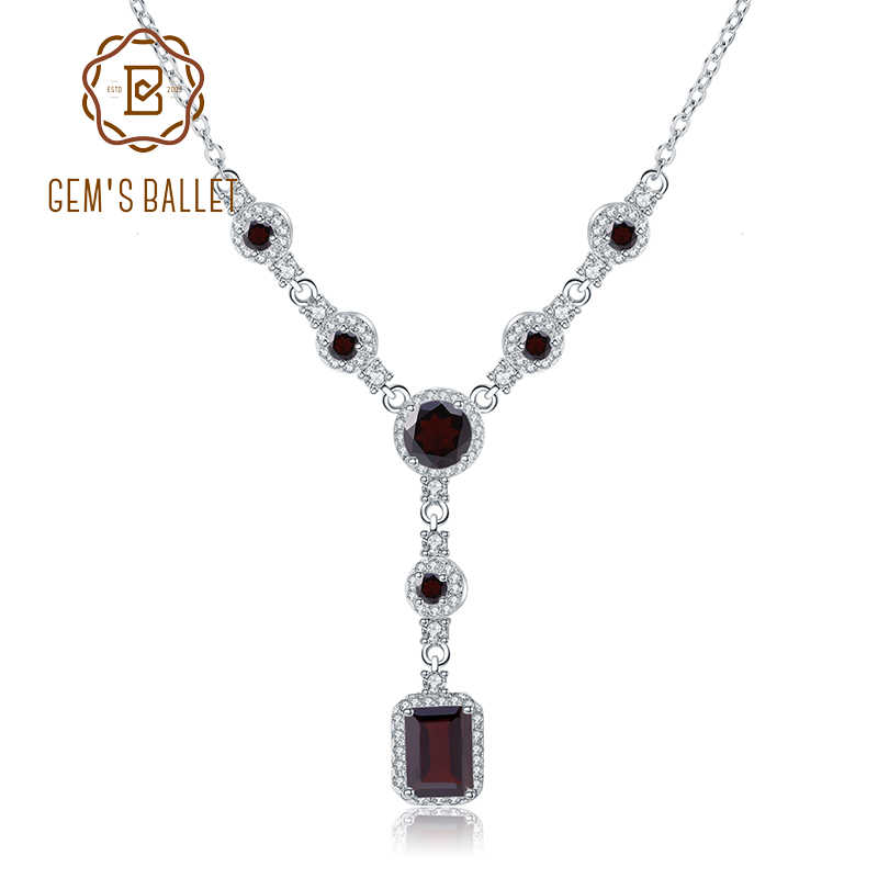 GEM'S BALLET Luxury 3.89Ct Natural Red Garnet Gemstone Pendant Necklace for Women 925 Sterling Silver Vintage Fine Jewelry