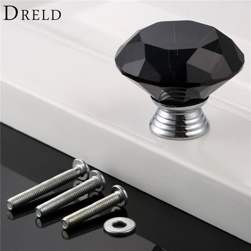 DRELD 1Pcs Black 40mm Diamond Shape Crystal Glass Drawer Cupboard Pull Handle Knob Kitchen Furniture Handles + 22/25/30mm Screws карабин black diamond black diamond rocklock twistlock
