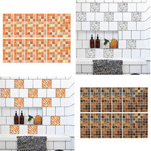 10pcs 3d wall stickers Bathroom Kitchen Self Adhesive Waterproof Marble Mosaic Wall Art Kitchen Tile Stickers wall decals 2019(China)