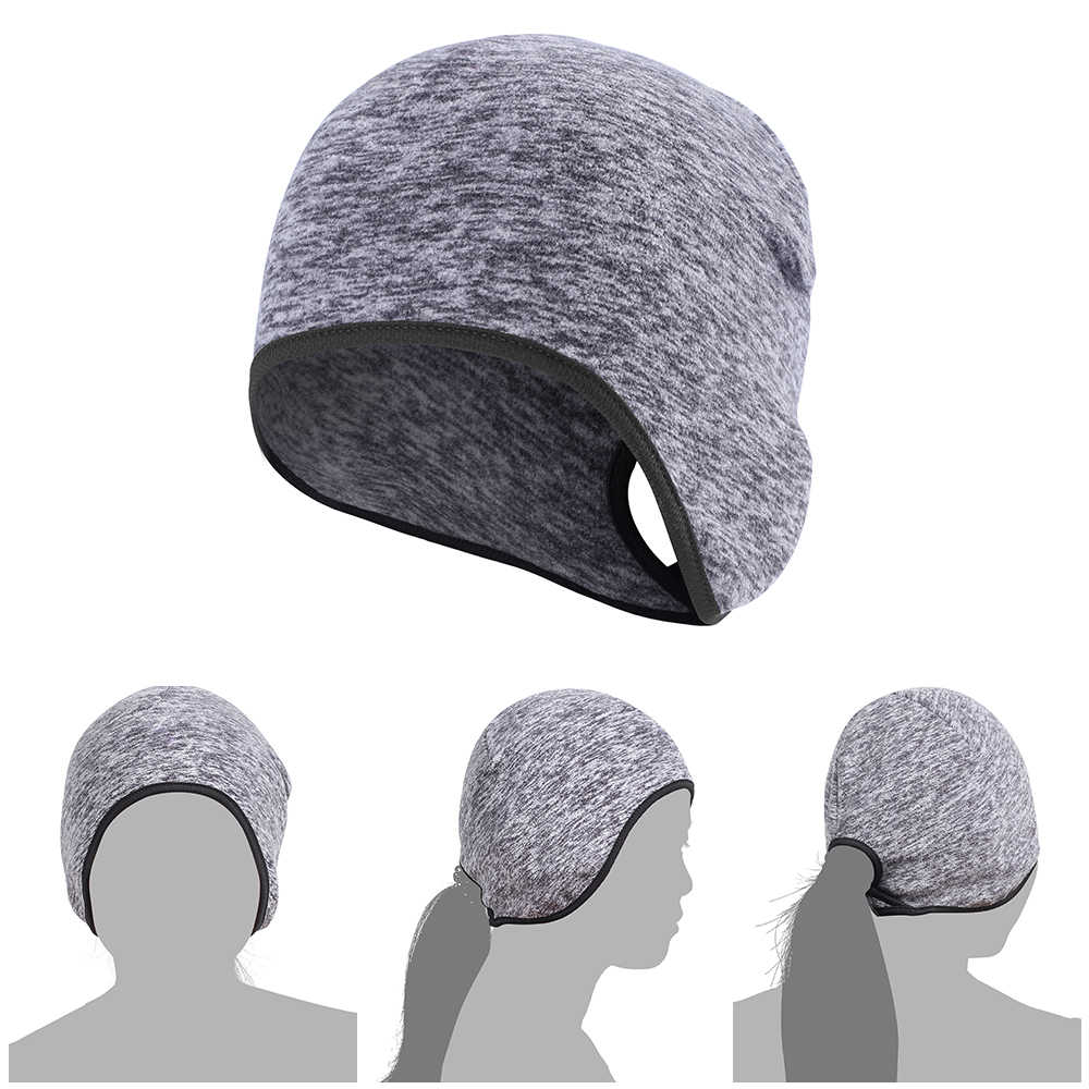 ... Outdoor Women Ponytail Fleece Running Hats Winter Warm Thermal Sports  Bicycle Snowboard Hiking Cycling Cap Snow ... 7c23f7f238b