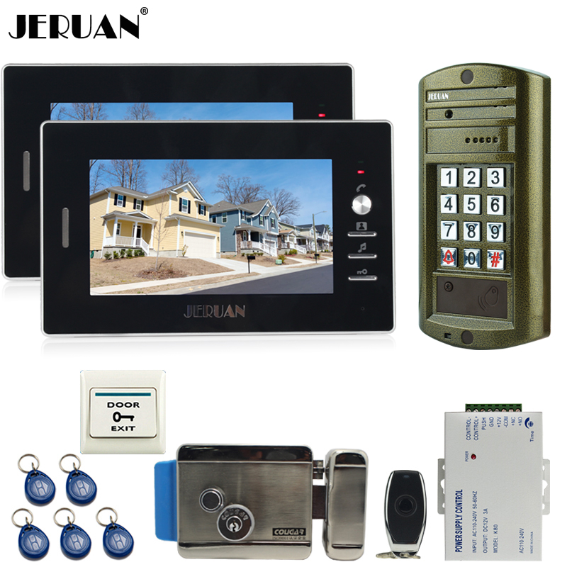 JERUAN 7 inch video doorphone intercom system kit 2 Monitor +NEW Metal waterproof password keypad HD IR Mini Camera +E-lock 1V2 jeruan wired 8 video doorphone record intercom system kit 2 monitor new rfid waterproof touch key password keypad camera 8g sd