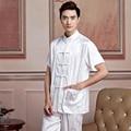 Hot Sale White Chinese Men's Satin Kung Fu Shirt Summer Short Sleeve Printed Wu Shu Tops Size S,M,L,XL,XXL,XXXL 2519-1